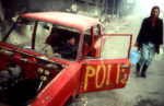 Scène de rue de Sarajevo assiégée.
